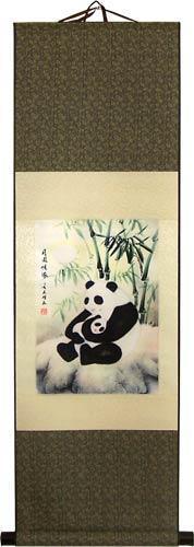Mothering Panda Chinese Print Scroll