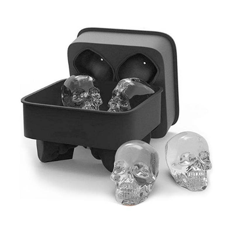 New Ice Cube Maker Skull Shape 3D Mold Bar Party Silicone Mould Gift Trays Tool