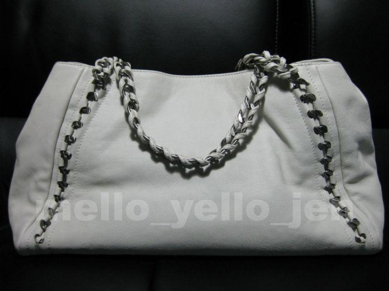 a6d26daccf76 Chanel 06A White Calfskin Modern Chain E W Tote Bag Silver Hardware