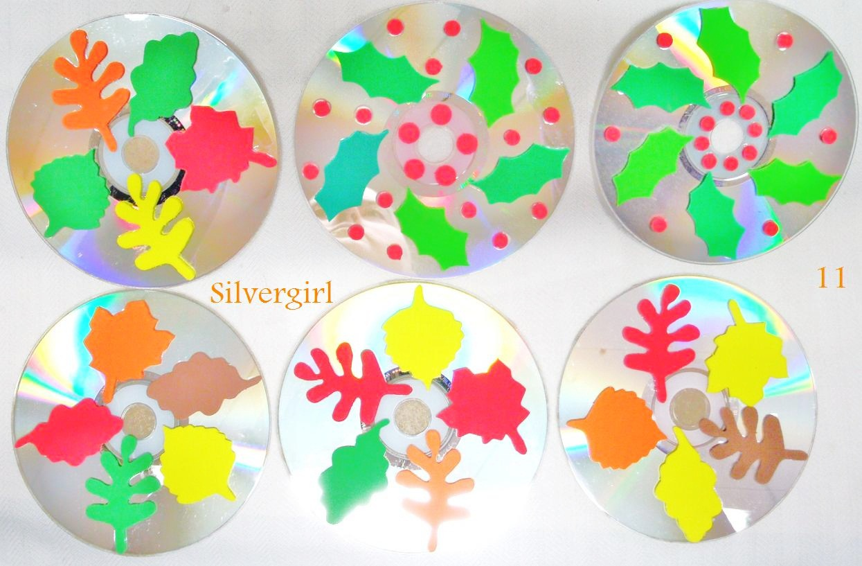 Primary image for Autumn and Holly Leaves Drink CD Disc Coasters Set of 6 OOAK