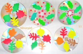 Autumn and Holly Leaves Drink CD Disc Coasters Set of 6 OOAK - $14.99
