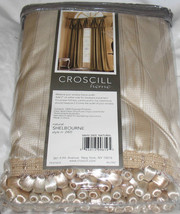 Croscill HAMPTON VALANCE CURTAINS DRAPES IVORY GOLD STRIPE TASSEL SHELBO... - $49.97
