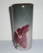 """WELLER ETNA VASE Vintage c. 1906 Art Pottery Flowers Lilacs Marked 6 7/8"""" - $36.12"""