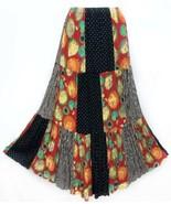 Lucia Lukken Broomstick Sz M Patchwork 3 Tier Rayon Womens Maxi Skirt US... - $37.05