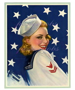 Darling Sailor, Vintage 17 x 22 inch Canvas Giclee Pin-Up Patriotic Print - $59.00