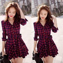 Women's New Fashion Long Sleeve Mini Lapel Plaid Dress - $36.72
