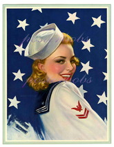 Darling Sailor, Vintage 13 x 10 inch Poster Paper Giclee Pin-Up Patriotic Print - $14.95
