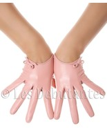 SUGAR PINK SEXY BOW LEATHER GLOVES LES DEBUTANTES - $11.50
