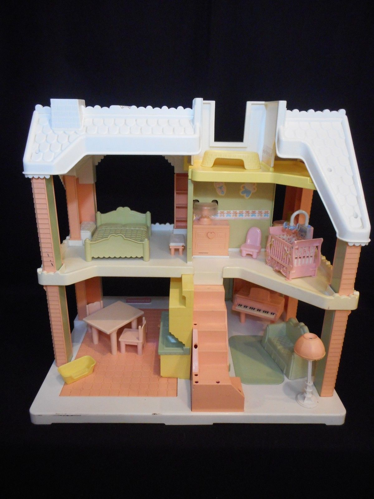 1991 Playskool VICTORIAN DOLLHOUSE pnk white with furniture Grd Piano Couch Bed image 2