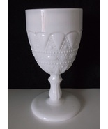 Vintage Kemple Lace & Dewdrop White Milk Glass Goblet  - $22.98