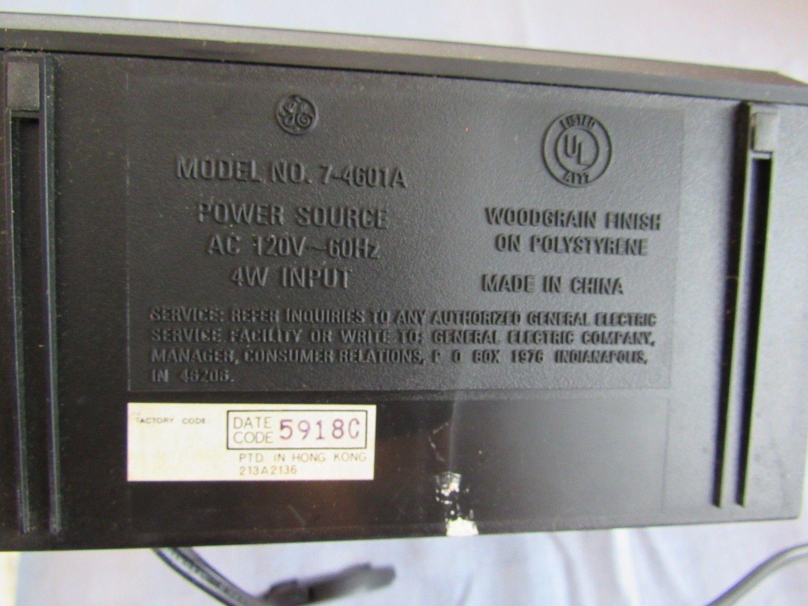 Vintage General Electric Alarm Clock AM/FM Radio 7-4601A with Manual