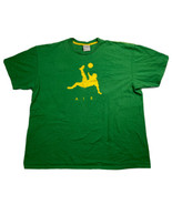 VTG 00s Nike Air Soccer T-Shirt Size 2XL Green Scissor Kick Futbol Brazil - $39.59
