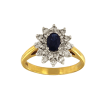 Two Tone Gold Diamond Oval Sapphire Ring - $1,300.00
