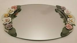 Hollywood Regency Dresser Mirror Tray w/ Pink Lavender Porcelain Rose Ha... - $27.16
