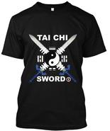 Tai Chi Sword T-Shirt Black tee chinese shaolin martial arts kung fu - $19.95+