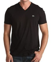 New Lacoste Men's Premium Pima Cotton Sport Athletic V-Neck Shirt T-Shirt Black