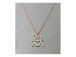 Goldtone Crystal Accent Heart Theme Boy & Girl Pendant Necklace - $10.95