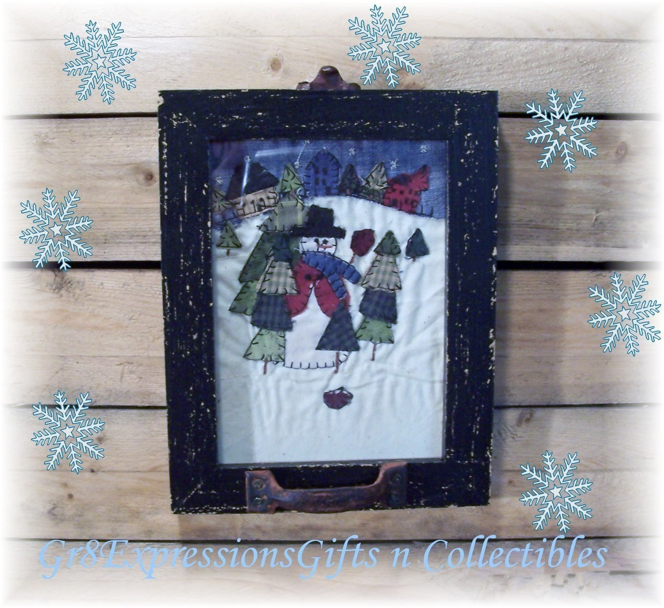 Stitched snowman window frame picture