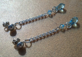 Aquamarine Crystal Earrings Wedding Something Blue! Hand Made In USA - $20.00