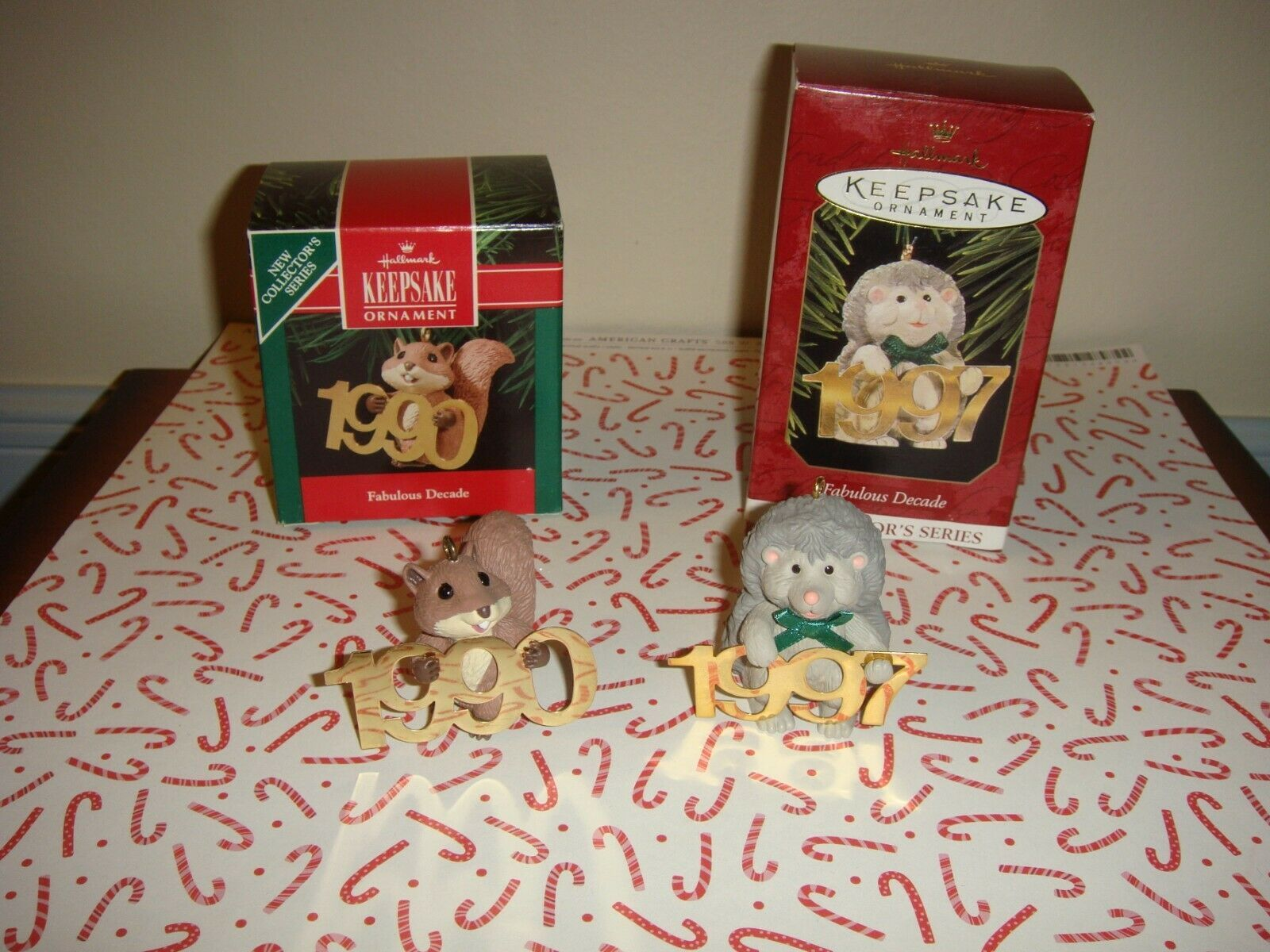 Hallmark 1990 & 1997 Fabulous Decade Series 1 & 8 Ornaments