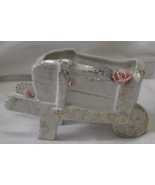 Vintage Tiny Wheelbarrow & Roses Planter Gold Glitter Made In Japan - $15.99