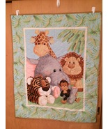 Baby Jungle Quilt or Blanket, Child's Wall Hanging Quilt, Crib Blanket - $42.00