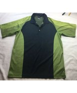 Men's Nike Dri Fit UV Black Green Short Sleeve Polo XL Color Block Golf - $18.69