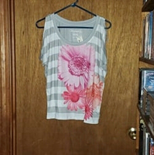 Primary image for Aeropostale Gray & White Striped / Flower Cold Shoulder Top