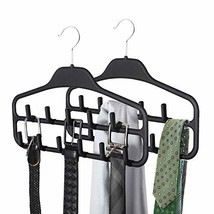 SMARTAKE 2 Pack Belt Hanger, 360 Degree Rotating Tie Rack with Hooks, Non-Slip D