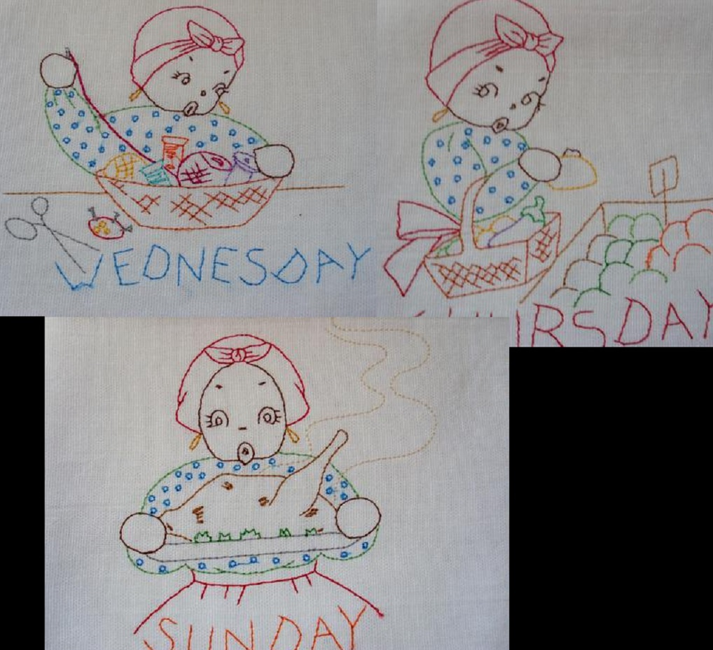 Young Southern Mammy DOW towel embroidery transfer pattern AM9469