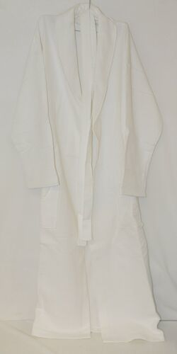 Mirko Diamond Waffle Shawl Collar Cotton Long Bathrobe White