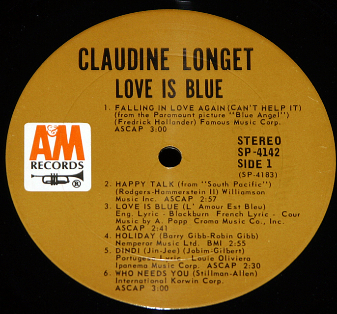 "Claudine Longet   ""Love Is Blue""   A&M Records SP-4142    LP"