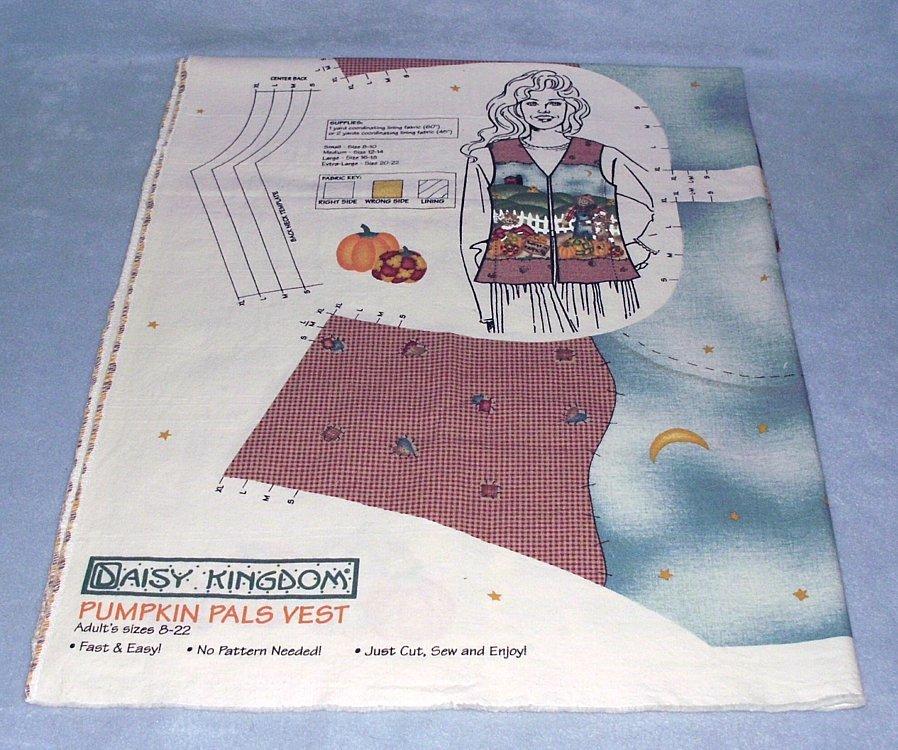 Daisy Kingdom Pumpkin Pals 1998 Vest Fabric Panel Sizes 8-22 #3640 - $9.99