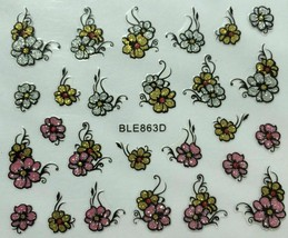 Nail Art 3D Glitter Decal Stickers Flowers Pink Gold Silver BLE863D - $3.19