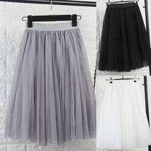 Tulle Skirts Womens Black Gray White Adult Tulle Skirt Elastic High Waist Pleate
