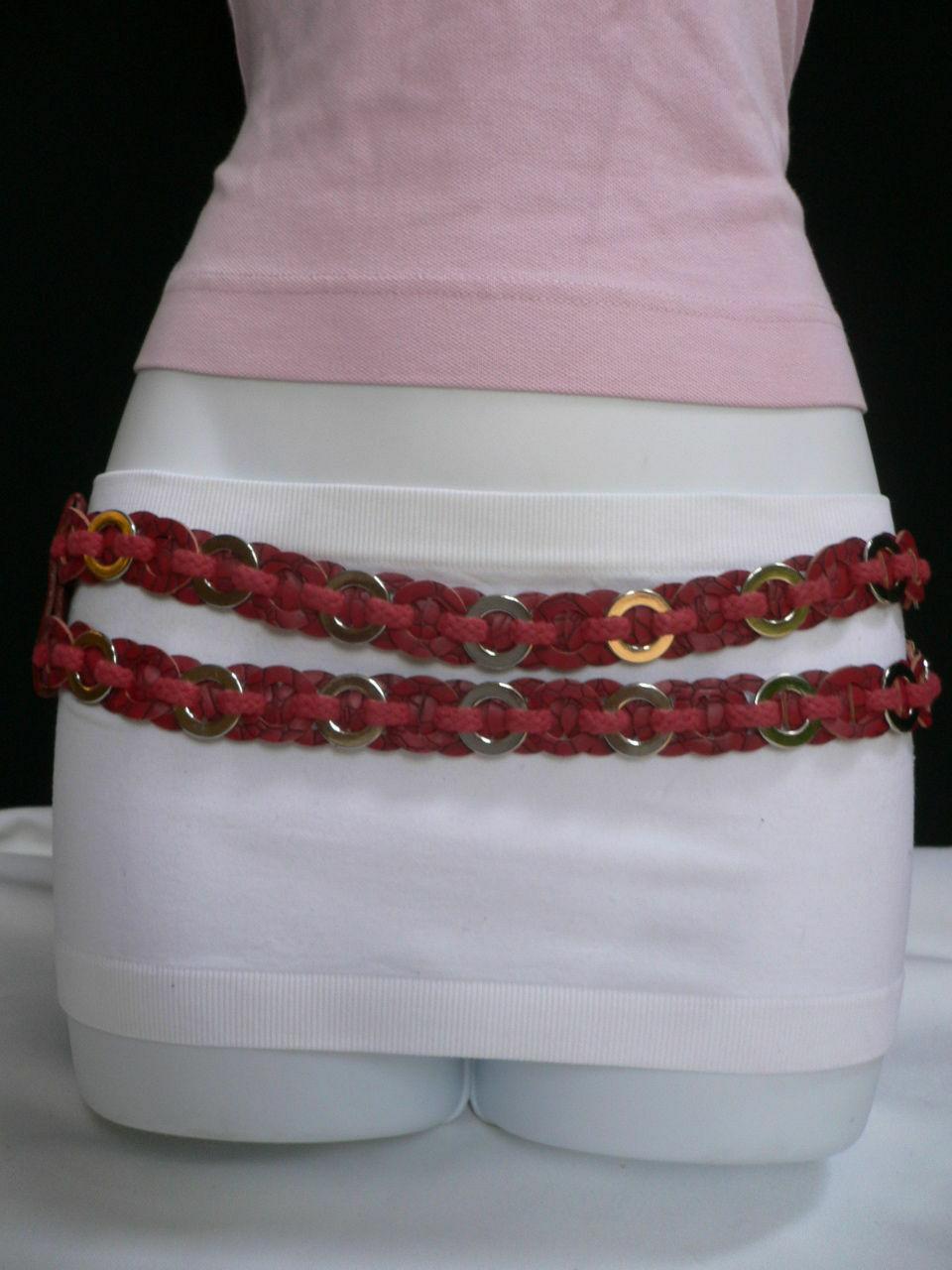 Femme Hip Taille Élastique Deux Rangs Argent Anneaux Métal Rouge Mode Ceinture image 7