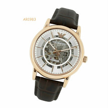 Emporio Armani Automatic Luigi Men's AR1983 Gold Tone Dress Brown Leathe... - $1,113.48