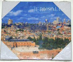 "Judaica Canvas Picture Wall Hang Israel Jerusalem Hamsa Blessing 7"" X 6"" image 3"