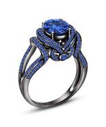 14k Black Gold Finish 925 Sterling Silver Blue Sapphire Womens Engagemen... - $75.99
