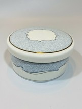 Wedgwood Venice Trinket Box Bone China Lid Silver Blue Round Jewelry Pins EUC - $14.84