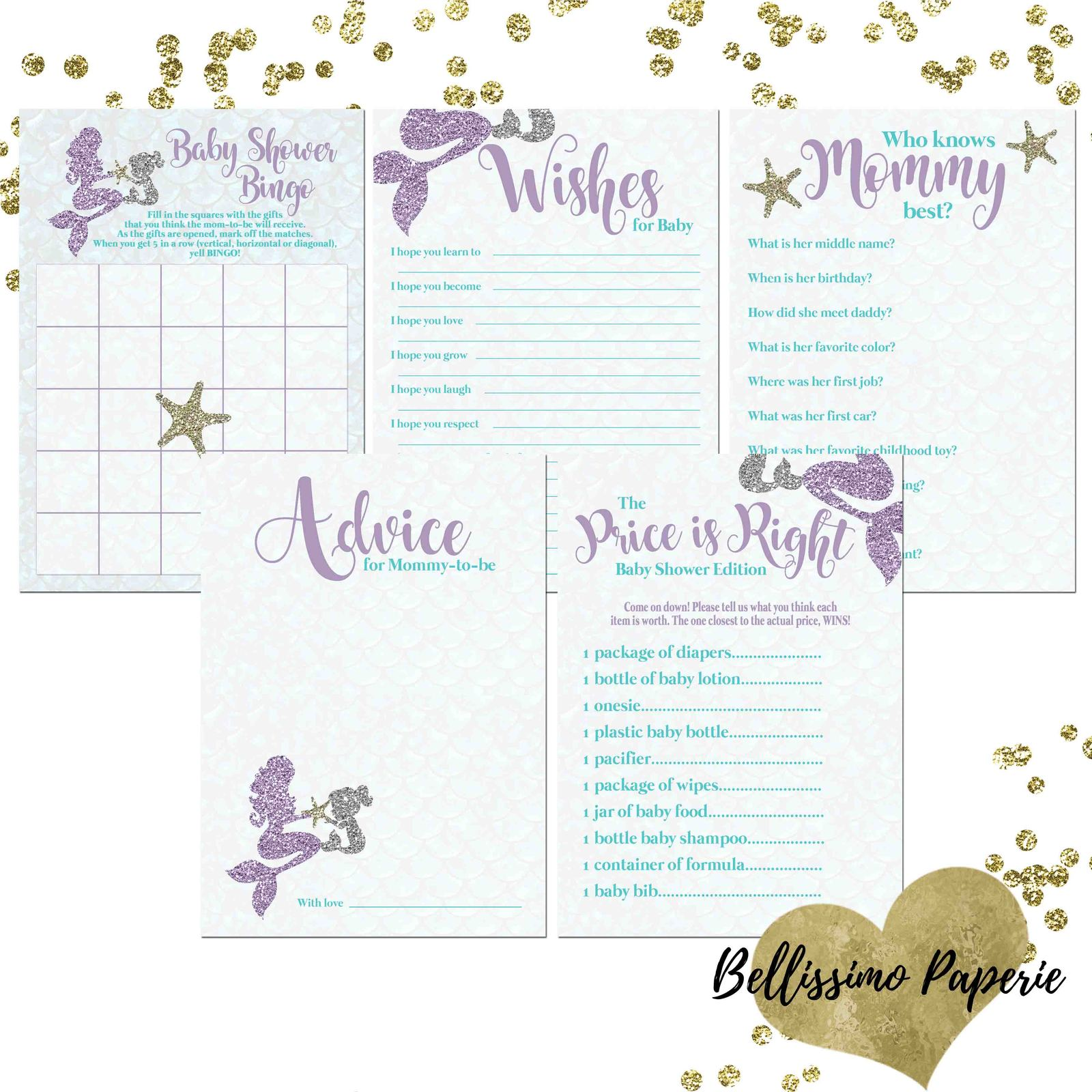 PRINTABLE Teal & Purple Mermaid Baby Shower Games 5 Games Bingo Wishes Advice