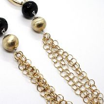 SILVER 925 NECKLACE, ONYX, OVALS WAVY, SPHERES SATIN, CHAIN ROLO' image 4