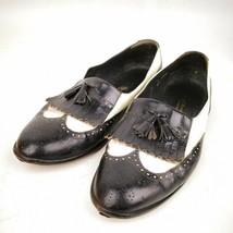 FLORSHEIM ITALY Designer Collection Black White leather tassel kiltie lo... - $19.99