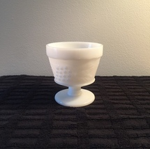 Vintage 70s Hazel Atlas Milk Glass grape pattern footed bowl/sherbet cup