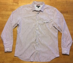 Banana Republic Men's Red, Gray & White Striped Long Sleeve Dress Shirt Large 16 - $16.99