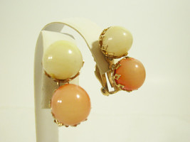 Vintage Vogue Peach Lemon Glass Balls Earrings Gold Plated Clip on Signe... - $14.36