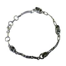 Natural Green Amethyst Silver Link Bracelets For Her Lobster Clasps L 6.... - $40.79