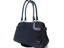 Auth SALVATORE FERRAGAMO Gancini Canvas Leather Black Shoulder Bag FS12555L - $169.00