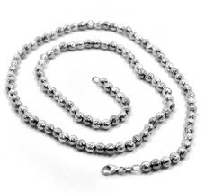 """18K WHITE GOLD BALLS CHAIN WORKED SPHERES 4mm DIAMOND CUT, FACETED 18"""", 45cm image 2"""