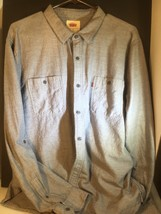 Levis Mens Shirt Long Sleeve Button Down Modern Fit Lt Weight Gray Blue ... - $19.79